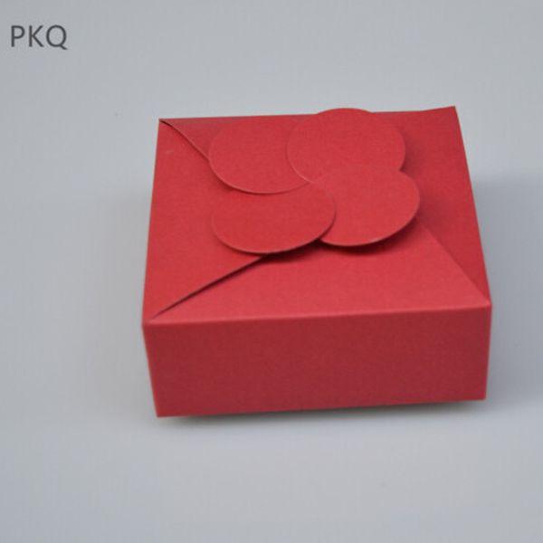 10 stücke Hochzeit Gefälligkeiten Schokolade / Pralinenschachtel Natürliche Kraftpapier Box für Verpackung DIY Kleine Geschenkboxen für Seife / Kekse 6,5x6,5x3 cm