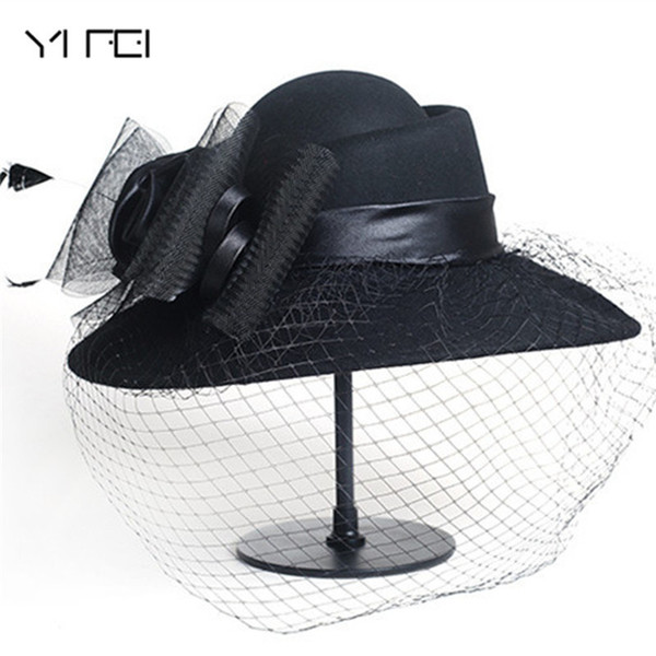 Women Wool Floral Veil Netting Feather Wide Brim Derby Hat Floppy Hat Fedoras Formal Occasion Dance Party Summer Beach Hat Y19052004