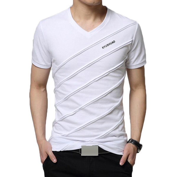 2019 Summer T Shirt Men Casual V-neck Short Sleeve Striped T-shirt Mens Cotton Tee Shirts Fitness Slim Fit Camiseta Tops Tshirt