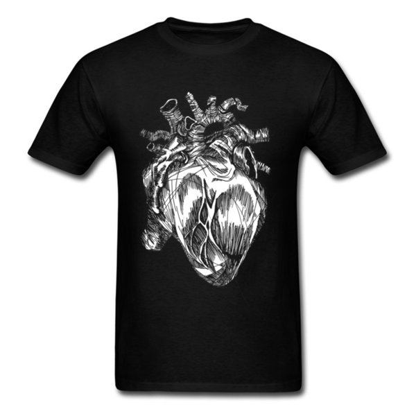 Hearth Abstract 2018 Brand New Men T-shirt Heart Print On Male Unique Art Design Tops Cotton Tee Shirts Gothic Lover