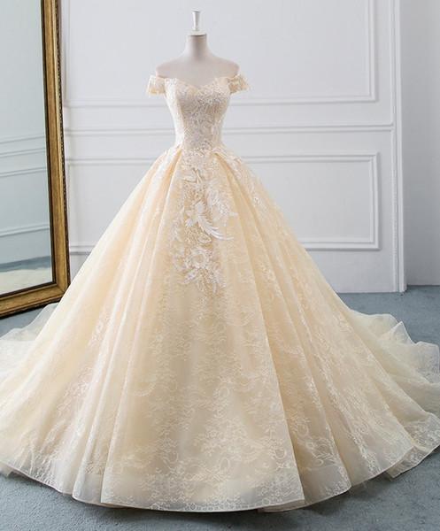 New 2019 Princess Wedding Dresses Turkey White Appliques Pink Satin Inside Elegant Bride Gowns Plus Size Champagne