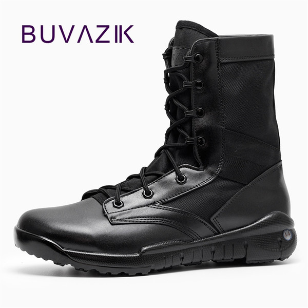 BUVAZIK Waterproof Hunting Men Boots Mid-Calf Motorcycle Outdoor Military Boots men Hard-wearing Rubber Sole Big Size 46 47 #8897