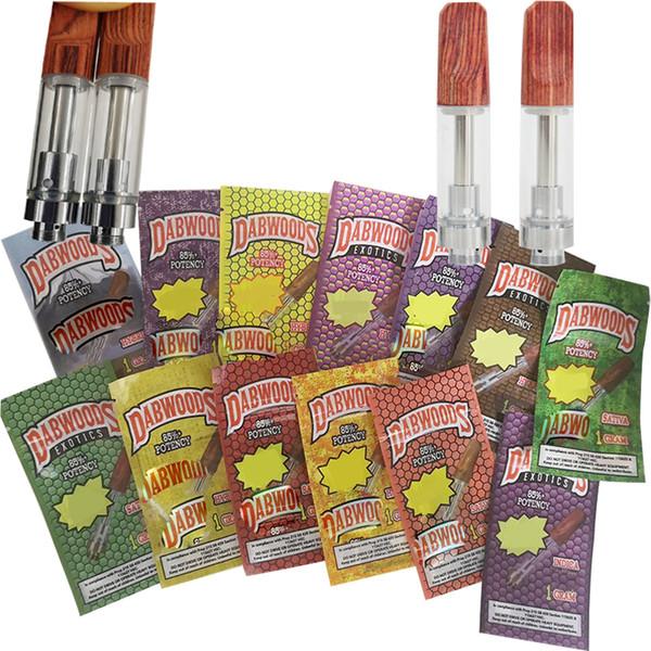 vaporfan / Dabwoods Vape Pen Cartridge упаковка 510 керамический картридж 0.8 мл 1 мл электронные сигареты Vape тележки стекло толстый масляный распылитель пустая ручка испарителя