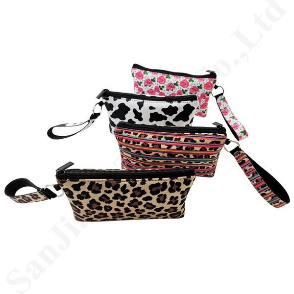 Neopreno Rose Leopard Pattern Card Holder Mujer Cordón Ranura para tarjeta de crédito Mini Wallet Girls Bolso colgante Wristlet Channge Purse C82302