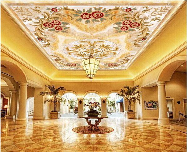 3d ceiling mural wallpaper custom photo European pattern marble flower living room home decor 3d wall murals wallpaper for walls 3 d