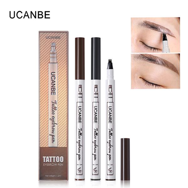 UCANBE 3 Colors Fine Sketch Liquid Eyebrow Pen Long Lasting Makeup Waterproof Smudge-proof Eye Brow Pencil Tattoo Kit Tool Durable Tattoo
