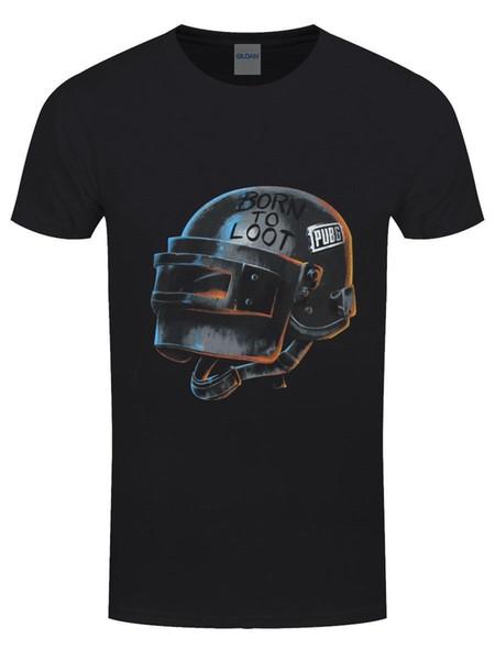 JogadorUnknown's Battlegrounds T-shirt PUGB Nascido Para Saquear homens Negros Das Mulheres Unisex Moda tshirt Frete Grátis preto