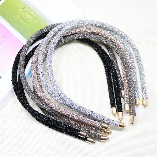 Fashion Korea Crystal Soft Headband for Women Rhinestone Hairband Beads Bezel Girls Hair Accessories Simple Headwear