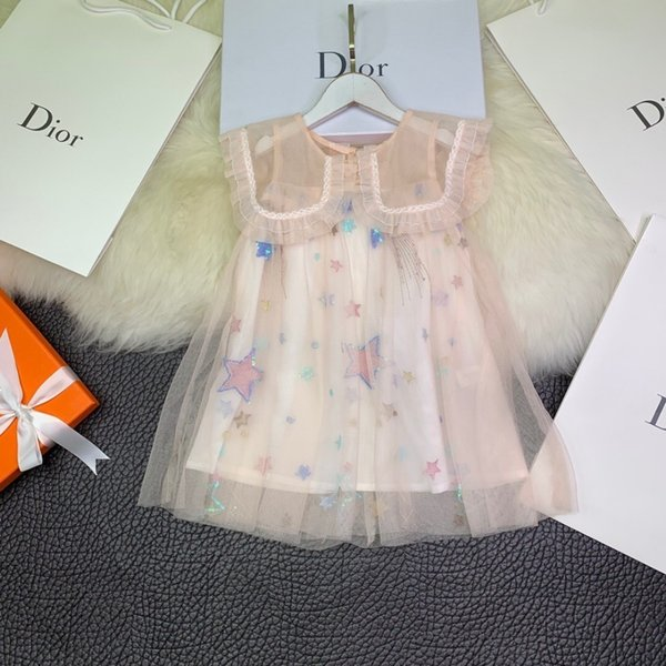 Girls dress mesh gown doll collar princess explosion skirt A word umbrella design light pink super beautiful little favorite