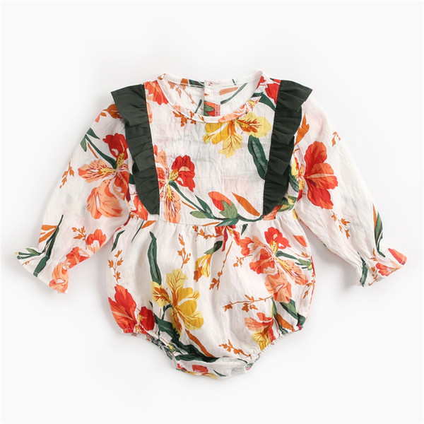 Newborn clothes autumn and winter floral baby clothes long-sleeved jumpsuit Korean baby clothes spring children's clothing cross-border ins