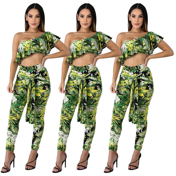 2019 Summer Style Track Suit Leaf Print Women Tracksuit Word Shoulder Strap Set Two Piece Sets Wrapped Chest Plus Trousers Women Clothes