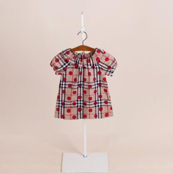 Estate bambini plaid dress ragazze rosso pois stampato vestito bambini vestiti firmati bambini falbala risvolto manica corta principessa top F4952