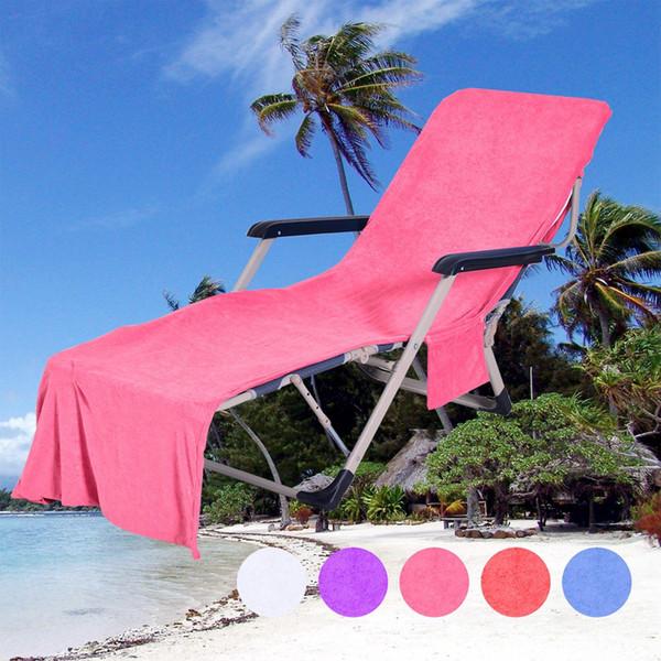 Plaj Sandalyesi Kapağı Ile Cep Kayış Battaniye Toptan Taşınabilir Çabuk Kuru Mikrofiber Çift Katmanlar Plaj Sandalye Havlu Şezlong ...