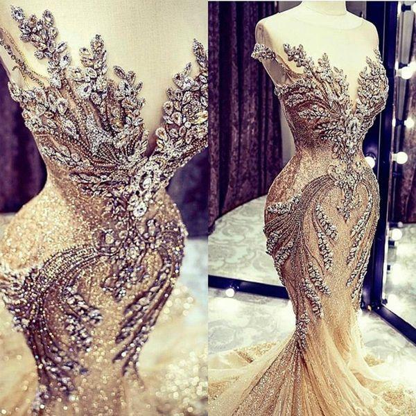 Champagne robes de mariée en dentelle perles de cristal Sequin balayage train Jewel cou Robe de mariée sirène réel Image Cap manches luxe Robes de mariée