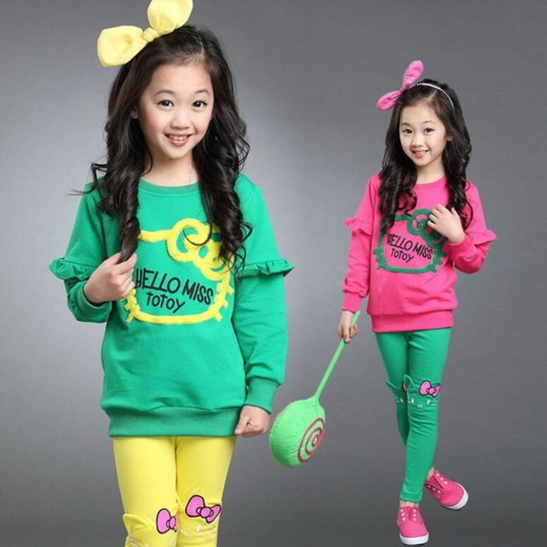 Spring Girls Clothing Sets Children Long Sleeve Cartoon Tops+Cartoon Leggings Pants Kids Suits Girl Outfits 5 s