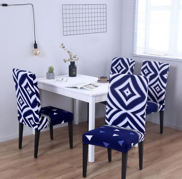 Stuhlhussen Spandex Blumendruck Abnehmbare Stuhlabdeckung Große Elastische Schonbezug Moderne Küche Sitzbezug Stretch Stuhlabdeckung Für Bankett