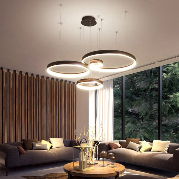 Circel Ring Modern Led Pendant Lights For Living Room Dining Room Shop Bar  White/Coffee Color Hanging Pendant Lamp Pendant Fixtures Ceiling Pendant ...