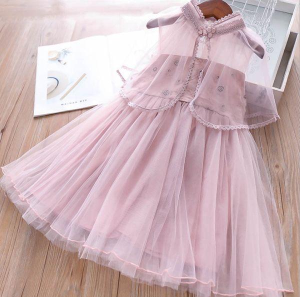 Kızlar dantel çiçek prenses elbise yaz nakış fırfır dantel tül tutu elbise + dantel tığ yaka pelerinler yaz çocuklar prenses kıyafet