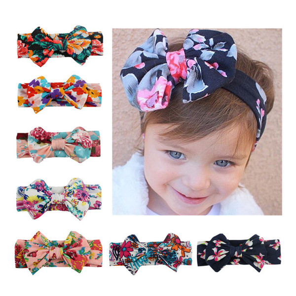 Newborn Flowers Print Floral Butterfly Bow Elastic Hair band Girls Turban Knot Headbands Children Headwear Baby Hair Accessories mlsp008