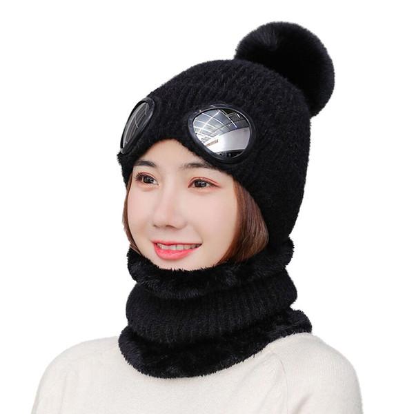 Yeni Moda Kadınlar Bayanlar Örme Yün Eşarp ve Beanie Hat Pom Cap Seti Sıcak Kış Eşarp Siyah Pembe Haki Kırmızı ayarlar