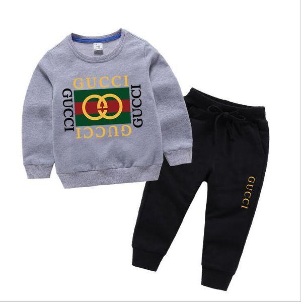 İlkbahar sonbahar Kız erkek Giysileri Sıcak satış yürüyor Giyim Setleri Karikatür Baskı Tişörtü ve Pantolon 2 Adet Uzun kollu ço ...