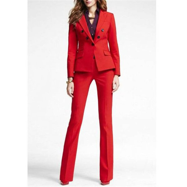 Customized new red fashion women's suit two-piece suit (jacket + pants) ladies double-breasted casual business formal suit