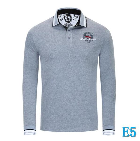 Venta caliente diseñador del Mens Polos Con Las Cartas camisas marca de moda Polo para hombre de manga larga hombre de las camisetas de lujo vestir de las tapas 2 colores M-3XLE5