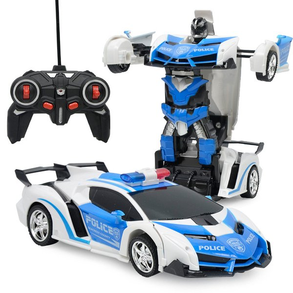 top popular RC 2 in 1 Transformer Car Driving Sports Vehicle Model Deformation Car Remote Control Robots Toys Kids Toys Coche De Juguete 2020