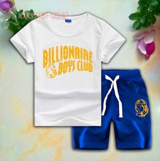 BB CLUB Kids Sets 2-8T Kids T-shirt Short Pants 2Pcs/sets Baby Boys Girls 95% Cotton Gold Letters Printing Style Summer Sets