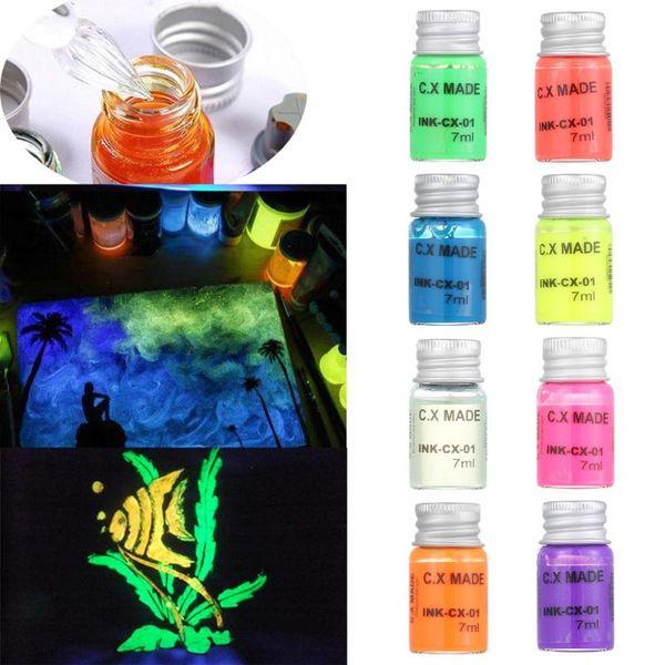 Koyu grafiti DIY olmayan karbon Floresan mürekkep ışık mürekkep boya parlak pigmentler Parlak İşlevli Dövme Inks 7ml Glow