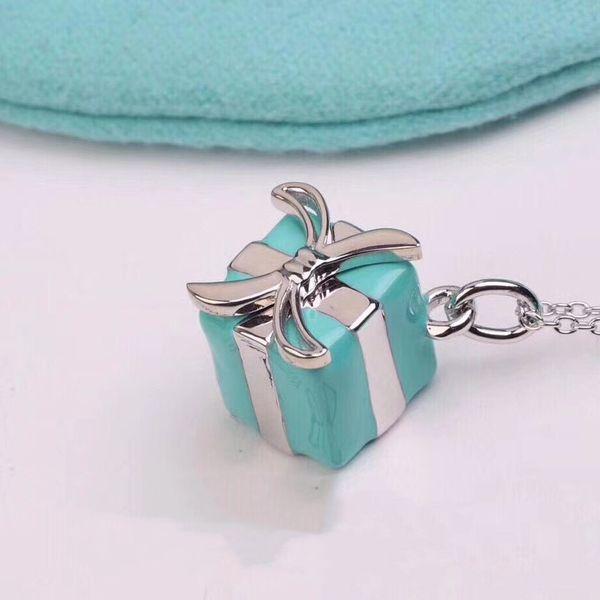 neue mode luxus designer schmuck 2019 frauen halskette 925 sterling silber schlüsselbein kette mini emaille box anhänger luxus geschenk