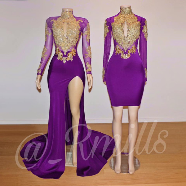2019 Sexy Grape Long Sleeve High Neck Mermaid Prom Dresses Sequins High Slit Sheer With Gold Lace Applique Long African Evening Dress Long Cheap Prom