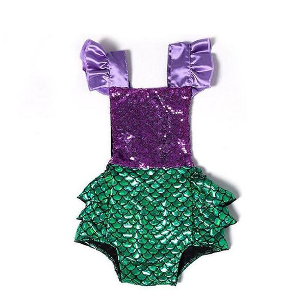 2019 Fashion Newborn Infant Baby Girl Clothes Sequins Mermaid Bodysuit Sunsuit Outfits Jumpsuit Bodysuits Clothing 0-24M