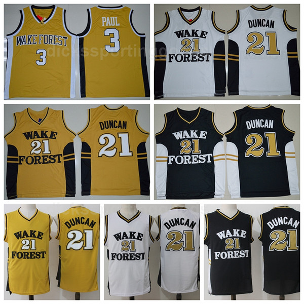 buy popular 4bf47 984c2 2019 NCAA College Men Basketball 21 Tim Duncan Jerseys Wake Forest Demon  Deacons 3 Chris Paul Jersey University Yellow Black White Color From ...