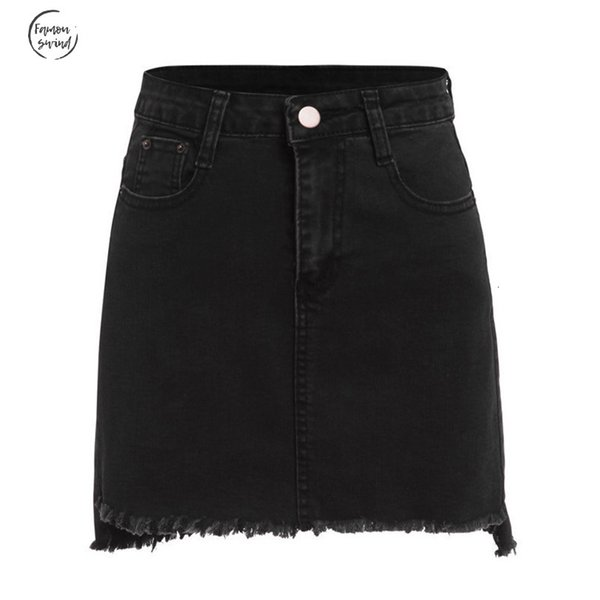 autumn mini streetwear skirts casual skirts for women plain black with pockets above knee denim bodycon skirt punk skirt