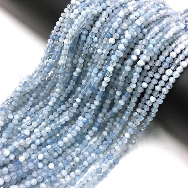 Naturale Acquamarine Beads 2 millimetri 3 millimetri 4 millimetri sfaccettato Small Stone Beads allentati per monili che fanno del braccialetto della collana Donne fai da te