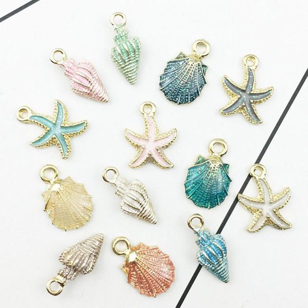 13pcs / lot nautique Ocea émail mer étoile de mer coquille conque hippocampe charmes coloré pendentif goutte d'huile pour bijoux accessoires bricolage
