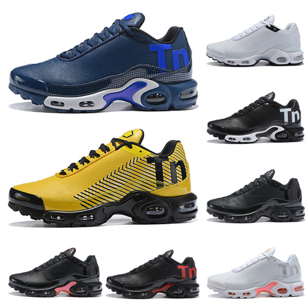 Großhandel 2019 Neue Designer Echtleder Mercurial TN PLUS Sport Laufschuhe Herren Grau Gelb Blau Luftpolster Jogging Walking Sneakers 40 45 Von