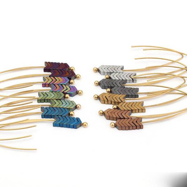 Métal Or Vintage Boucles d'oreilles flèche pour les femmes rétro Boucles d'oreilles Bohème long Tassel Fringe Dangle Boucles d'oreilles