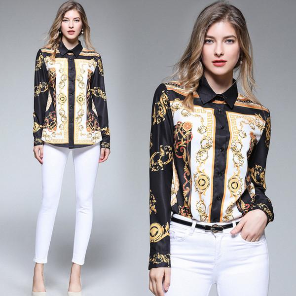 yuhanzhenbang / Mulheres de seda vintage de luxo de impressão OL camisetas Senhoras Casual botão Front Office lapela Neck manga comprida Blusa Camisas Tops