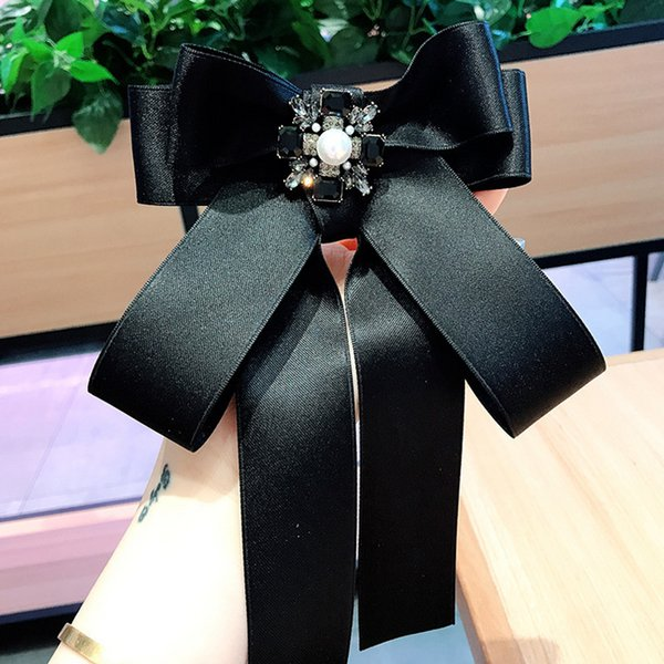 Women Black Ribbon Necktie Brooch Big Bowknot Brooch Suit Lapel Pin Shirt Accessories for Gift Party High Quality