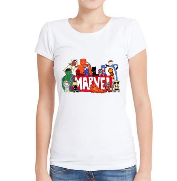Avengers Kadınlar Yaz Modal Tişörtleri Ekip Boyun Karton Baskı Giyim Moda Katmanlama Temelleri Kısa Kollu Giyim