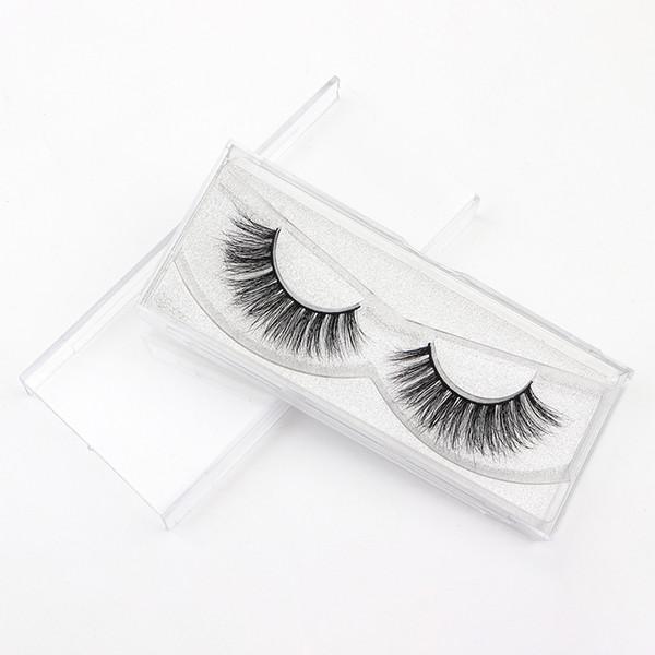 Black Cotton Band 3D Mink Fur Long Thick Mink Strip Private Label Natural Makeup 3D Mink Eyelashes 3D197