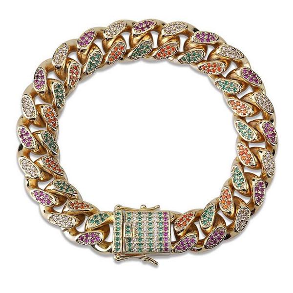 Chain Bracelets Jewelry Exquisite Grade Quality Colorful Bling Zircon Micro Paved Bracelets Luxury 18K Gold Plated Hip Hop Bracelets LBR068
