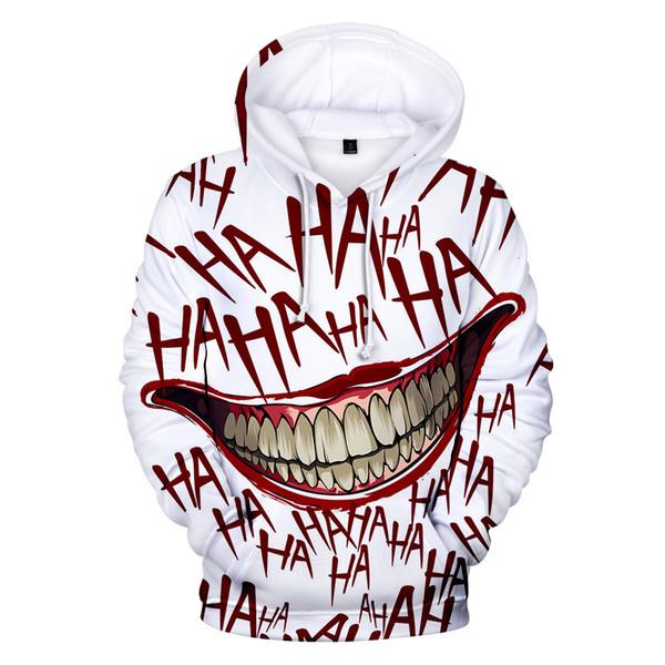 Fortunato Venerdì HAHA Joker divertente 3D Halloween sorriso pazzesco Pullover Felpa con cappuccio Moda Streetwear Giacca unisex Sportwear