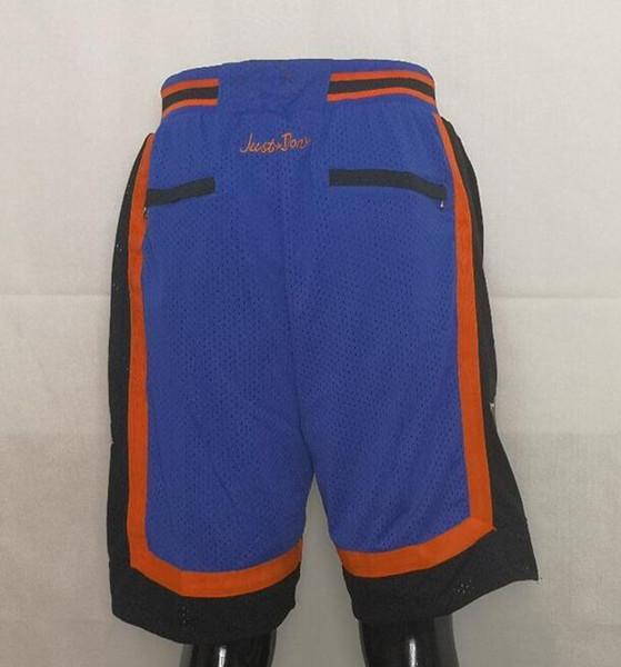 Новые шорты команда шорты старинные баскетбольные шорты карман на молнии Беговая одежда Нью-Йорк синий только что сделал размер S-XXL Mix заказать все трикотажные изделия