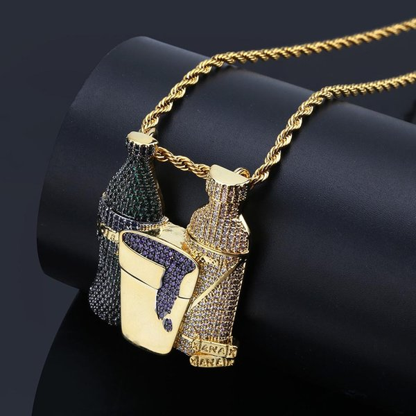 New Fashion Personalized 18K Gold Plated Mens Hip Hop Multi-color CZ Zirconia Bottle Pendant Necklace Twist Chain Iced Out Punk Jewelry Gift