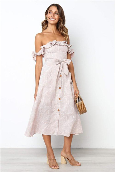 Womens Designer Slash Neck Dresses Backless Sexy Bohemian Prience Style Female Clothing Spring Ribbon Rosette Casual Apparel