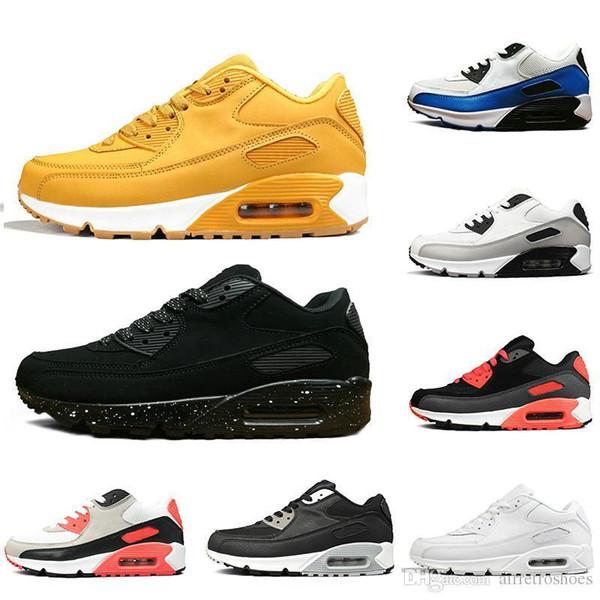 2019 Triplo preto 90 Das Mulheres Dos Homens Tênis de Corrida Clássico amarelo vermelho 90 s Sports Sportswear Almofada Tênis de Superfície Respirável 36-45
