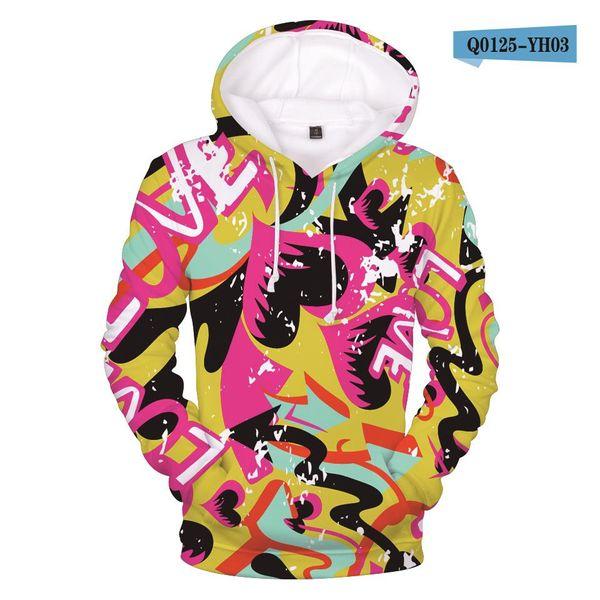 2018 New 3D Printed Graffiti Hoodies Men Sweatshirts Women Hip Hop Hooded Sweatshirt Graffiti 3D Hoodies Mens Clothes Plus Size